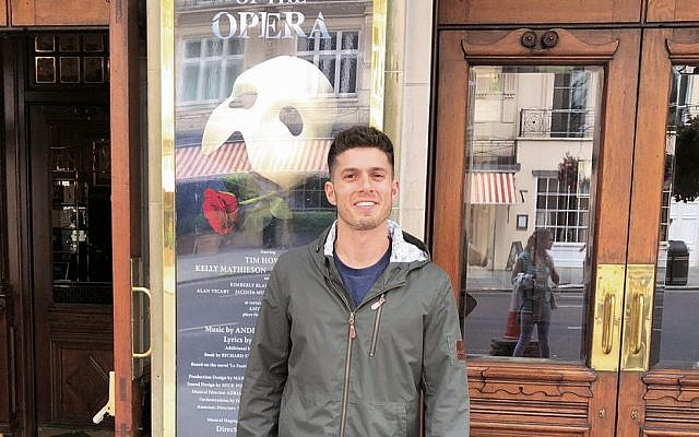 Josh Piterman outside London's Her Majesty's Theatre where The Phantom of the Opera has played for the past 33 years.