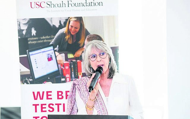Lee Liberman at her inauguration as board chair of the USC Shoah Foundation.