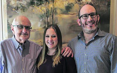 Leon Goldman (left) with daughter Terri Lazarus and son-in-law Jonathan Lazarus.