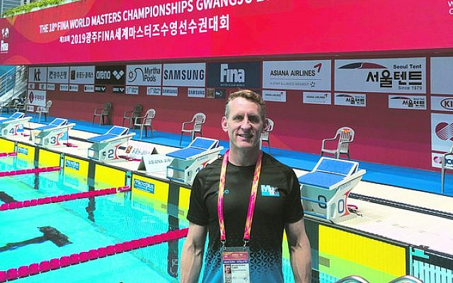 Michael Carp poolside at the 2019 FINA World Masters Swimming Championships in South Korea last week.