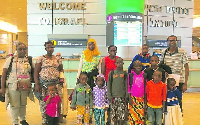 The Rwandan children and their carers arriving at Ben Gurion Airport.
