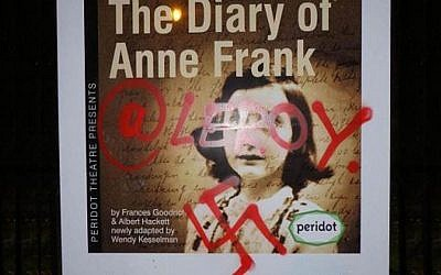 The promotional poster for the production of The Diary of Anne Frank defaced with a swastika.