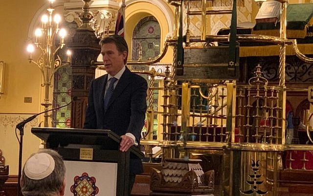 Christian Porter speaking at The Great Synagogue in Sydney on Thursday.