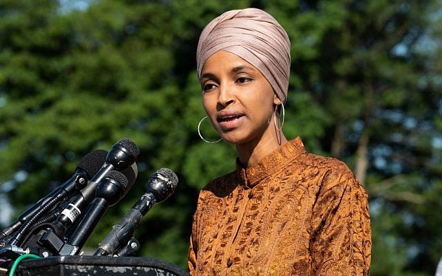 Ilhan Omar speaks at a press conference at the Capitol in Washington, D.C., July 25, 2019. (Michael Brochstein/SOPA Images/LightRocket via Getty Images)
