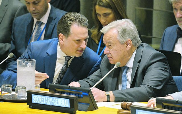 Pierre Krahenbuhl (left) with UN Secretary-General Antonio Guterres in June. Photo: Kyodo via AP Images
