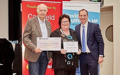 From left: Gary Hershan, chairman of the Caulfield Park Bendigo Bank, Cynthia Pollak and David Southwick.