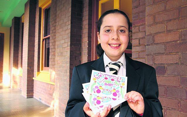 Ruby Levitt with her winning 2019 AJN Rosh Hashanah card design. Photo: Shane Desiatnik