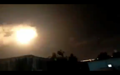 A burst of light, apparently caused by an Iron Dome interceptor missile detonating itself, illuminates the night sky over the northern Gaza Strip on September 11, 2019. (Screen capture: Twitter)