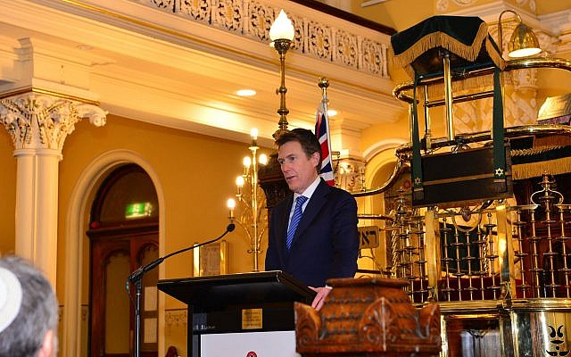 Attorney-General Christian Porter introduces the draft bill at The Great Synagogue last Thursday. Photo: Henry Benjamin