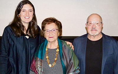 From left, Ellie Freeman, Guta Goldstein and Charlie Goldberg at the 75th Lodz Commemoration.