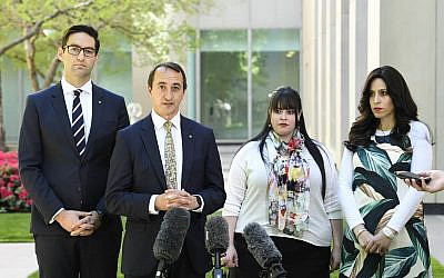 From left: Josh Burns, Dave Sharma, Dassi Erlich and Nicole Meyer outside Parliament.