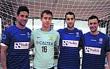 Fustalroos squad member Ethan de Melo (in light blue shirt) with Hakoah players (from left) Gilad Swartz, Dylan Basger and Robbie Ezekiel.