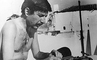 Leonard Cohen at work on the Greek island of Hydra during the 1960s.