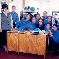 Adass Israel ultra-Orthodox girls school headmistress Malka Leifer (left) with her students, among them Nicole Meyer (centre) in 2003. (Courtesy)