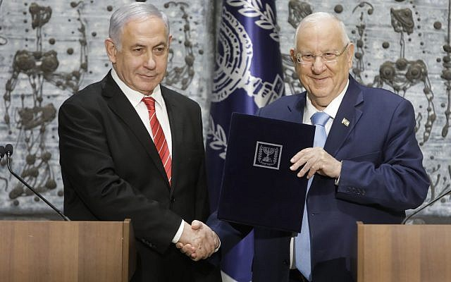 Israeli President Reuven Rivlin last week tasked Benjamin Netanyahu with forming a new government. Photo: AP Photo/Sebastian Scheiner