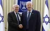 John Howard (left) with President Reuven Rivlin on Tuesday. Photo: Mark Neiman/GPO