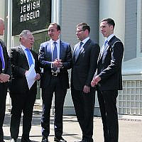 From left: ECAJ co-CEO Peter Wertheim, Council for Jewish Community Security chairman Peter Wise, Dave Sharma, NSW Jewish Board of Deputies president Lesli Berger and CSG head of security Matt Meyerson. Photo: Gareth Narunsky