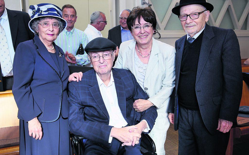 From left: Vicky Rogut, Paul and Zina Conway, Rabbi David Rogut.