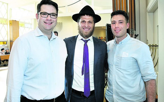From left: Joel Ginges, Rabbi Chaim Koncepolski, Matthew Zwi.