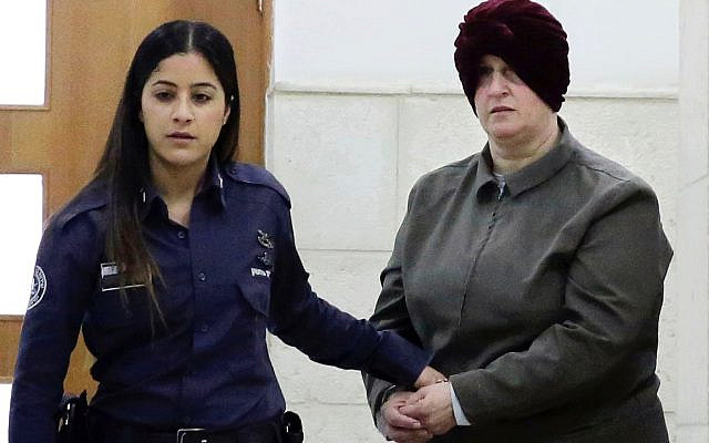 Malka Leifer is brought to a courtroom in Jerusalem in February, 2018. Photo: AP Photo/Mahmoud Illean