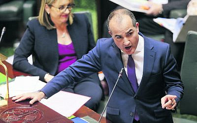 James Merlino speaking in the Victorian Parliament. Photo: AAP Image/Wayne Taylor