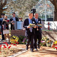 Peter Allen (right) and NAJEX president Roger Selby at the Australian Jewish War Memorial dedication ceremony last year. Photo: Bradley Cummings