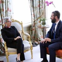 Governor Linda Dessau with Rabbi Yaakov Glasman. Photo: Peter Haskin