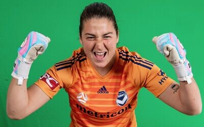 Melissa Maizels in her new Melbourne Victory goalkeeper's shirt.