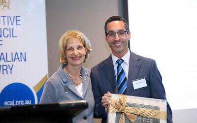 Incoming ECAJ president Jillian Segal with outgoing president Anton Block. Photo: Peter Haskin