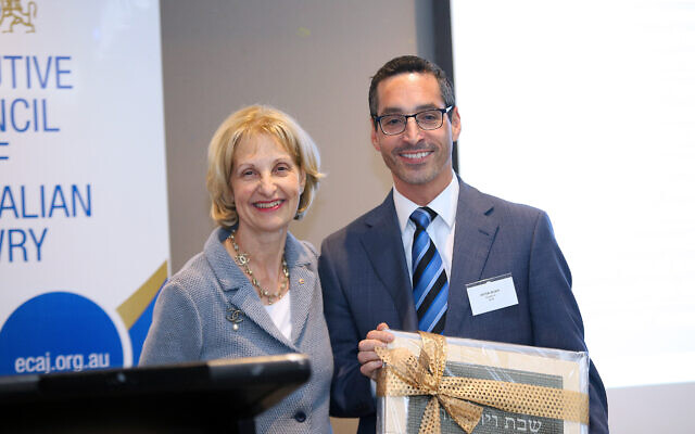 Incoming ECAJ president Jillian Segal with outgoing president Anton Block. Photo: Peter Haskin