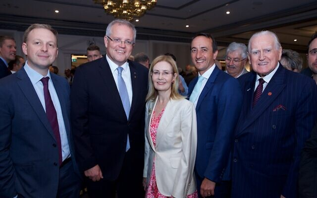 From left: Jeremy Leibler, Scott Morrison, Vaucluse MP Gabrielle Upton, Wentworth MP Dave Sharma and Reverend Fred Nile. Photo: Giselle Haber