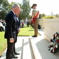 Laying a wreath at the Anzac Memorial in Beersheba. Photo: Facebook