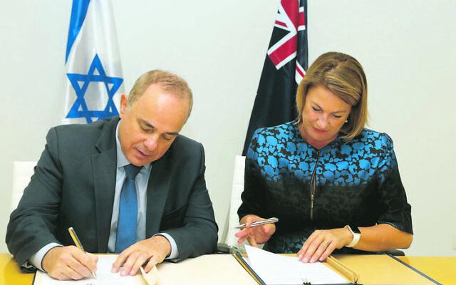 Yuval Steinitz and Melinda Pavey. Photo: Yossi Zamir