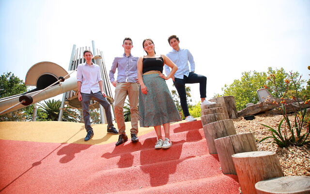 From left: VCE duxes Yossi Frenkel, Isaac Rozental, Freya Boltman and Ben Aizenstros. Photo: Peter Haskin
