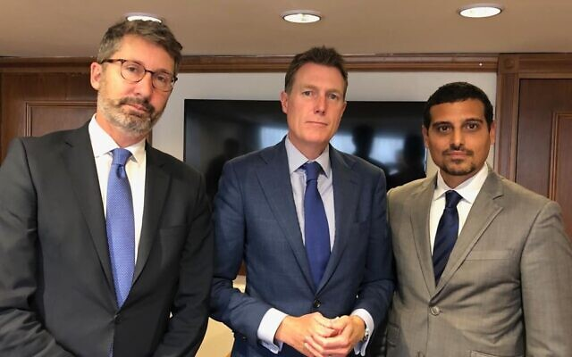 Manny Waks (right) pictured with Australian ambassador to Israel Chris Cannan and Australian Attorney-General Christian Porter.