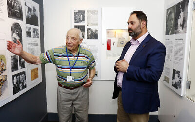 Shoah survivor and JHC guide Joe De Haan with former politician Philip Dalidakis. Photo: Peter Haskin