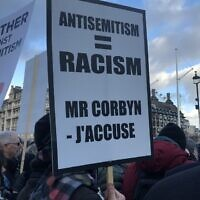 Placards at a protest against antisemitism in the UK earlier this month.