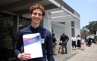 Adam Gottschalk with his First in Course certificates. Photo: Shane Desiatnik