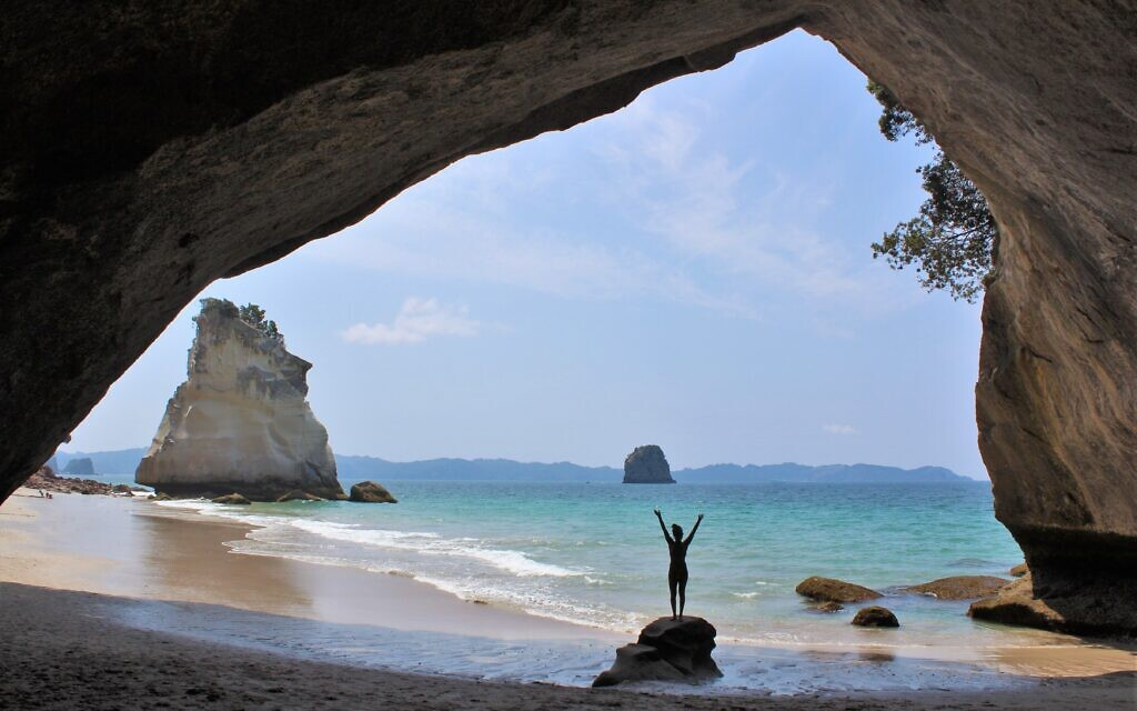 Amelia Iliamo at Cathedral Cove, New Zealand. Photo entered by Sharon Flitman.