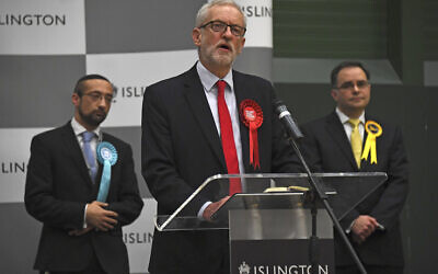 Jeremy Corbyn during the declaration of his Islington seat. Photo: AP Photo/Alberto Pezzali