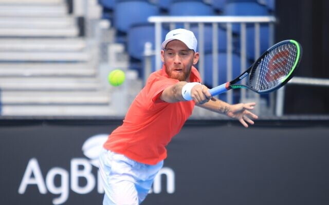 Israel's Dudi Sela was forced to retire in the second set of his Australian Open qualifying match due to a foot injury. Photo: Peter Haskin