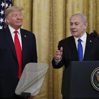 US President Donald Trump and Israeli Prime Minister Benjamin Netanyahu addressing the media on January 28. Photo: AP Photo/Alex Brandon