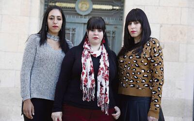 From left: Elly Sapper, Dassi Erlich and Nicole Meyer at the Jerusalem District Court last year. Photo: EPA/Abir Sultan