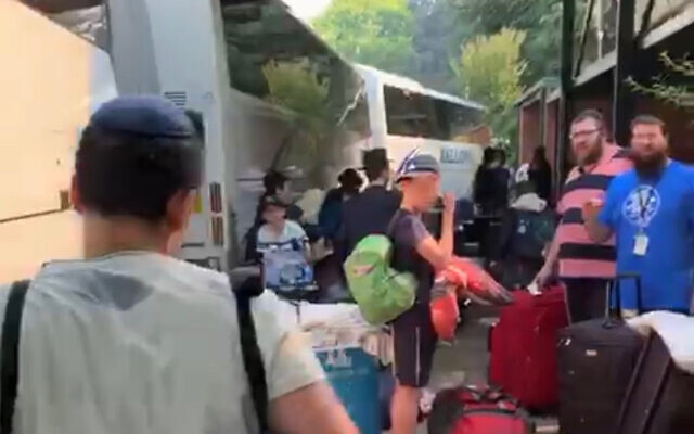 More than 340 kids were evacuated from the Gan Yisroel camp today.