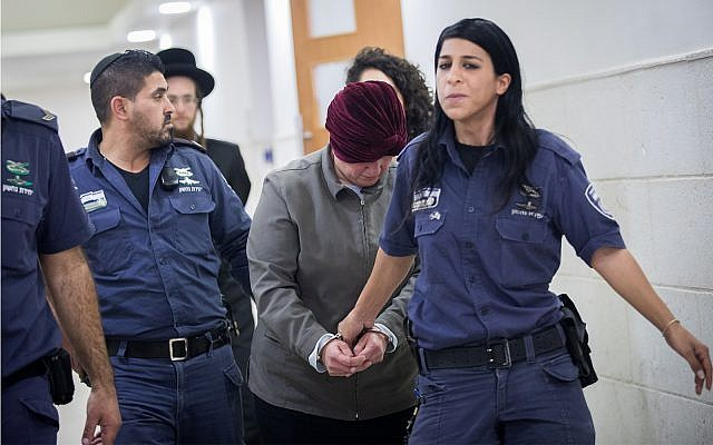 Former principal Malka Leifer, wanted in Australia for child sex abuse crimes, seen at the Jerusalem District Court, February 14, 2018. (Yonatan Sindel/Flash90)