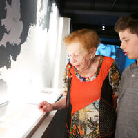 Yvonne Engelman with her great-grandson Meir Simcha Rosenthal at the Sydney Jewish Museum. Photo: Giselle Haber