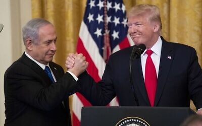 Benjamin Netanyahu and Donald Trump at the unveiling of Trump's peace plan this week. Photo: EPA/Michael Reynolds
