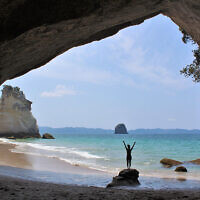 HOLIDAY FINALIST A: Amelia Iliamo at Cathedral Cove, New Zealand. Photo entered by Sharon Flitman.