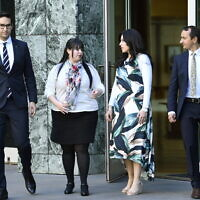 From left: Josh Burns, Dassi Erlich, Nicole Meyer and Dave Sharma outside Parliament last year.