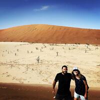 Alana Ramler and Daniel Samowitz on the dunes of Deadvlei in Namibia.